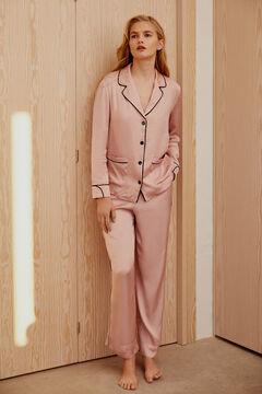Pedro del Hierro Pijama satén vivos a contraste Pink
