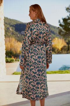 Pedro del Hierro Kimono estampado com cinto Verde
