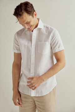 Pedro del Hierro Plain short-sleeved linen/cotton shirt White