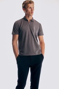 Pedro del Hierro Technical short-sleeved polo shirt Grey