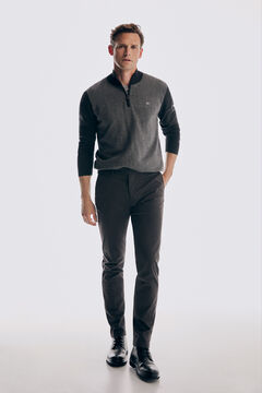 Pedro del Hierro Micro pattern slim fit trousers Grey
