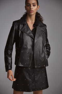 Pedro del Hierro Studded nappa leather jacket Black