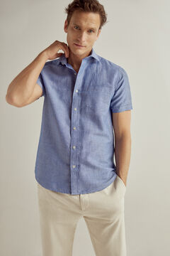 Pedro del Hierro Plain short-sleeved linen/cotton shirt Blue