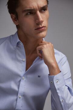 Pedro del Hierro Plain slim fit non-iron viroblock shirt Blue