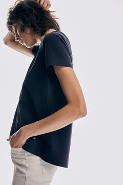 Pedro del Hierro Camiseta amplia manga codo Blue