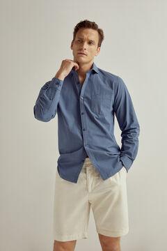 Pedro del Hierro Camisa lisa de Seersucker algodón Blue