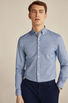 Pedro del Hierro Checked Tech Non-Iron cotton shirt Blue