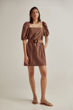 Pedro del Hierro Puffed sleeve dress Brown