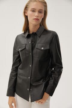 Pedro del Hierro Nappa leather shirt Black