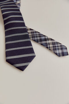 Pedro del Hierro Horizontal striped tie Blue