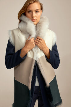 Pedro del Hierro Three-tone reversible leather gilet Ivory