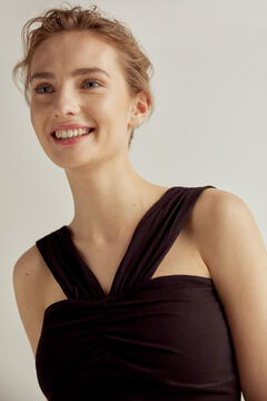 Pedro del Hierro Tight-fitting halterneck top with chest gathering Black