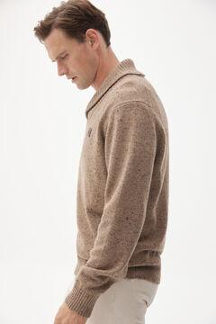 Pedro del Hierro Patterned shawl neck jumper Brown