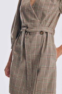 Pedro del Hierro Crossover dress in checked fabric Beige