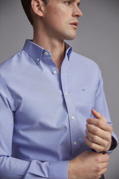 Pedro del Hierro Plain tech-non iron stain resistant Oxford shirt Blue
