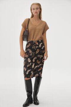 Pedro del Hierro Printed draped skirt Brown