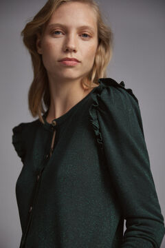 Pedro del Hierro Flounced lurex jacket Green