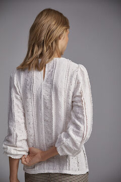 Pedro del Hierro Long-sleeved lace top Beige