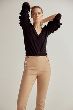 Pedro del Hierro Slim trousers with button detail Beige