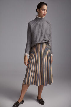 Pedro del Hierro Cable knit mock turtleneck jumper Grey