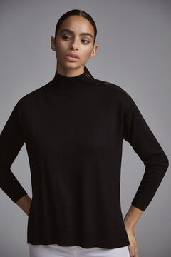 Pedro del Hierro Mock turtleneck jumper with buttons Black