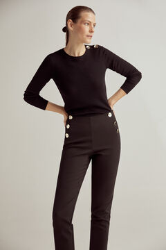 Pedro del Hierro Slim trousers with button detail Black