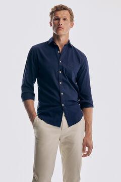 Pedro del Hierro Camisa estructura tintada algodón orgánico Blue