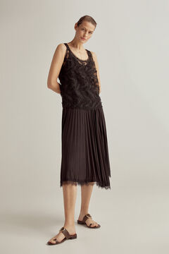 Pedro del Hierro Embroidered feathers tulle top Black
