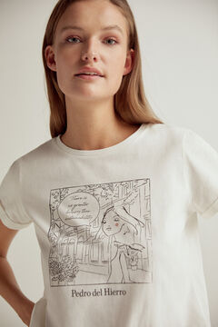 Pedro del Hierro Sustainable doll graphic t-shirt Beige