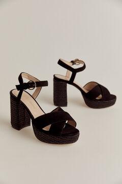 Pedro del Hierro Suede sandal Black
