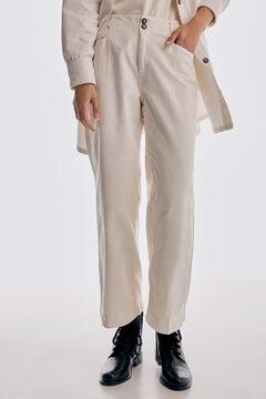 Pedro del Hierro Corduroy straight fit wide leg trousers Ecru