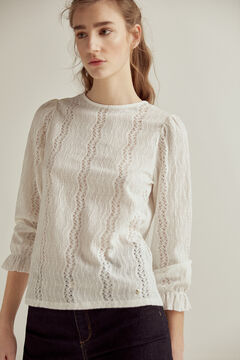 Pedro del Hierro Long gathered sleeves lace top Beige