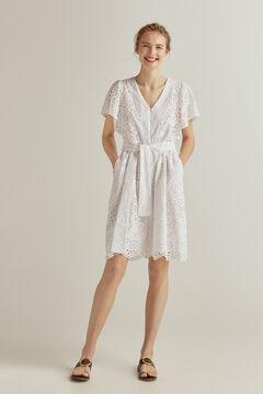 Pedro del Hierro Short embroidered fabric dress White