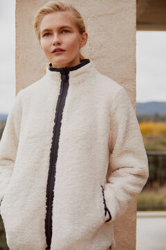 Pedro del Hierro Fleece jacket with mock turtleneck and contrast welt details Beige