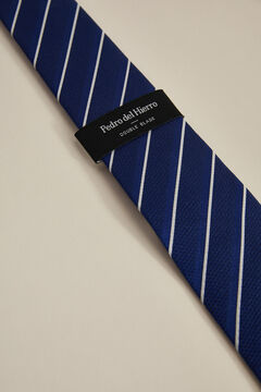 Pedro del Hierro Double bladed striped tie Blue