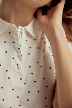Pedro del Hierro Short-sleeved polka-dot polo shirt Ivory