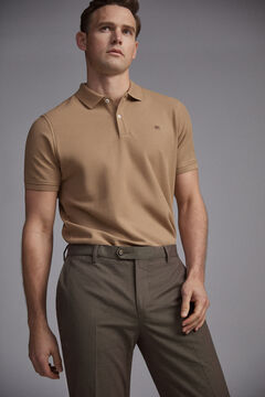 Pedro del Hierro Short-sleeved PdH logo polo shirt Beige