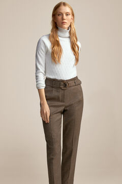 Pedro del Hierro Buckle belt trousers Beige