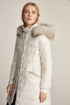 Pedro del Hierro Long hooded parka Ecru
