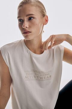 Pedro del Hierro Fluid slogan T-shirt Beige
