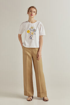 Pedro del Hierro Contrast short puffed sleeves T-shirt Ivory