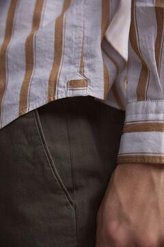 Pedro del Hierro Striped Italian fabric shirt Beige