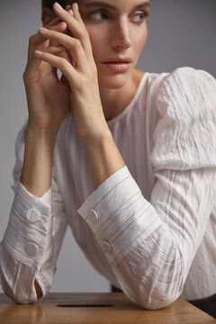 Pedro del Hierro Blouse with gathered sleeves Ivory