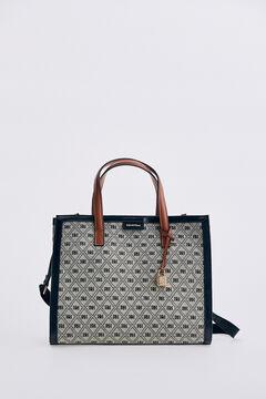 Pedro del Hierro Logo jacquard fabric and leather tote bag Black