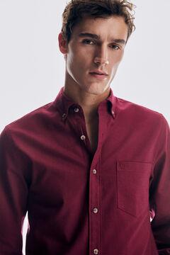 Pedro del Hierro Plain cotton twill shirt Red