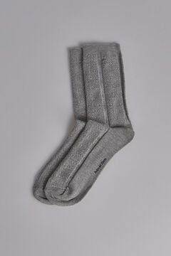 Pedro del Hierro Jacquard sock in organic cotton. Grey