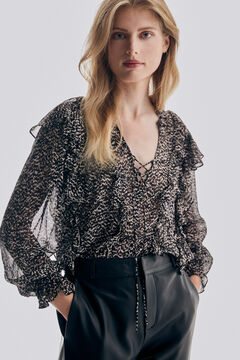 Pedro del Hierro Printed blouse in silk cheesecloth and viscose Grey