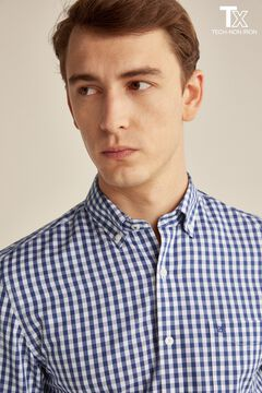 Pedro del Hierro Camisa cuadros tech non iron algodón antimanchas Azul