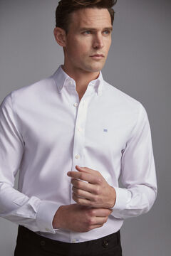 Pedro del Hierro Plain tech-non iron stain resistant Oxford shirt White