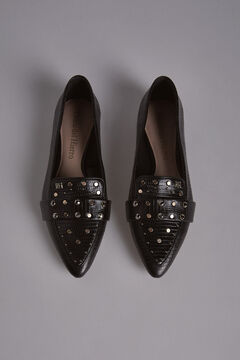 Pedro del Hierro Pointed Moccasin with Studs Black